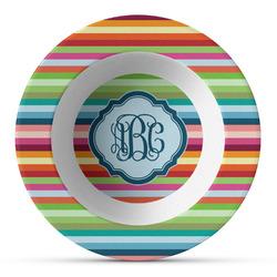 Retro Horizontal Stripes Plastic Bowl - Microwave Safe - Composite Polymer (Personalized)