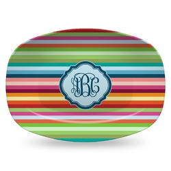 Retro Horizontal Stripes Plastic Platter - Microwave & Oven Safe Composite Polymer (Personalized)