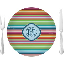 "Retro Horizontal Stripes 10"" Glass Lunch / Dinner Plates - Single or Set (Personalized)"