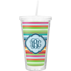 Retro Horizontal Stripes Double Wall Tumbler with Straw (Personalized)