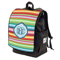 Retro Horizontal Stripes Backpack w/ Front Flap  (Personalized)