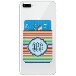 Retro Horizontal Stripes Genuine Leather Adhesive Phone Wallet (Personalized)