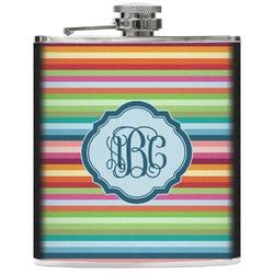 Retro Horizontal Stripes Genuine Leather Flask (Personalized)