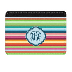 Retro Horizontal Stripes Genuine Leather Front Pocket Wallet (Personalized)