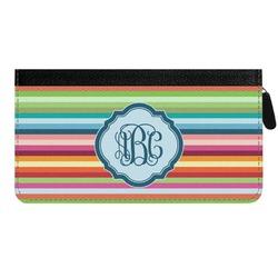 Retro Horizontal Stripes Genuine Leather Ladies Zippered Wallet (Personalized)