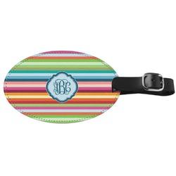 Retro Horizontal Stripes Genuine Leather Oval Luggage Tag (Personalized)