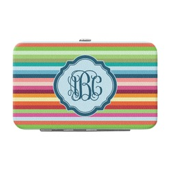 Retro Horizontal Stripes Genuine Leather Small Framed Wallet (Personalized)