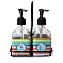 Retro Horizontal Stripes Soap & Lotion Dispenser Set (Glass) (Personalized)