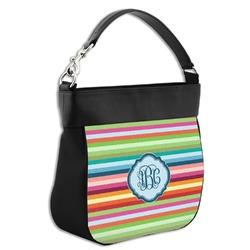 Retro Horizontal Stripes Hobo Purse w/ Genuine Leather Trim (Personalized)
