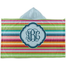 Retro Horizontal Stripes Kids Hooded Towel (Personalized)