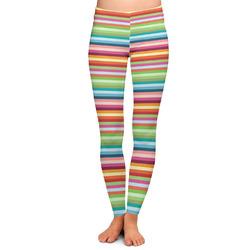 Retro Horizontal Stripes Ladies Leggings - Medium (Personalized)