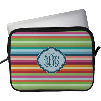 "Retro Horizontal Stripes Laptop Sleeve / Case - 12"" (Personalized)"