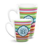 Retro Horizontal Stripes Latte Mug (Personalized)