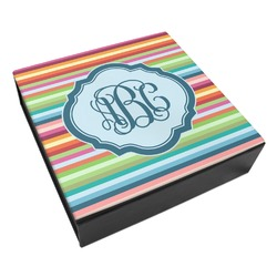 Retro Horizontal Stripes Leatherette Keepsake Box - 3 Sizes (Personalized)