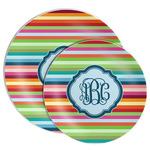 Retro Horizontal Stripes Melamine Plate (Personalized)