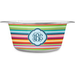Retro Horizontal Stripes Stainless Steel Dog Bowl (Personalized)