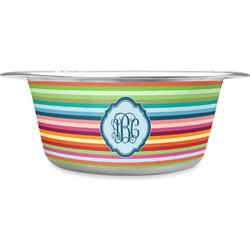 Retro Horizontal Stripes Stainless Steel Pet Bowl (Personalized)