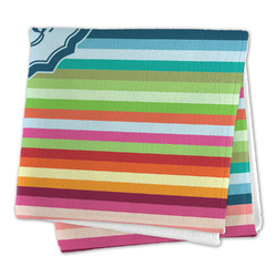 Retro Horizontal Stripes Large Microfiber Dish Rag (Personalized)