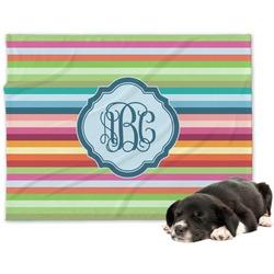 Retro Horizontal Stripes Minky Dog Blanket (Personalized)