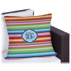 Retro Horizontal Stripes Outdoor Pillow (Personalized)