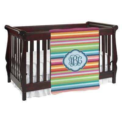 Retro Horizontal Stripes Baby Blanket (Personalized)