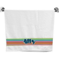 Retro Horizontal Stripes Bath Towel (Personalized)