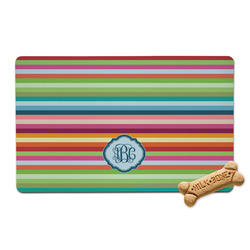Retro Horizontal Stripes Pet Bowl Mat (Personalized)