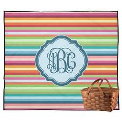 Retro Horizontal Stripes Outdoor Picnic Blanket (Personalized)