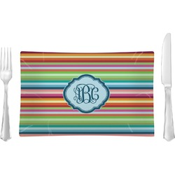 Retro Horizontal Stripes Glass Rectangular Lunch / Dinner Plate - Single or Set (Personalized)
