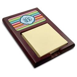 Retro Horizontal Stripes Red Mahogany Sticky Note Holder (Personalized)