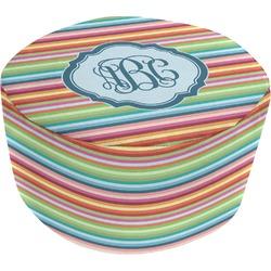 Retro Horizontal Stripes Round Pouf Ottoman (Personalized)