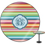 Retro Horizontal Stripes Round Table (Personalized)