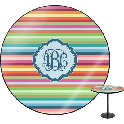 """Retro Horizontal Stripes Round Table - 30"""" (Personalized)"""
