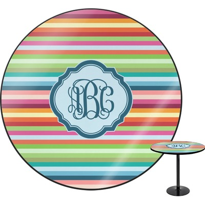 Retro Horizontal Stripes Round Table - 30