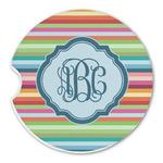 Retro Horizontal Stripes Sandstone Car Coasters (Personalized)