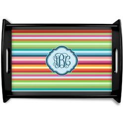 Retro Horizontal Stripes Black Wooden Tray (Personalized)