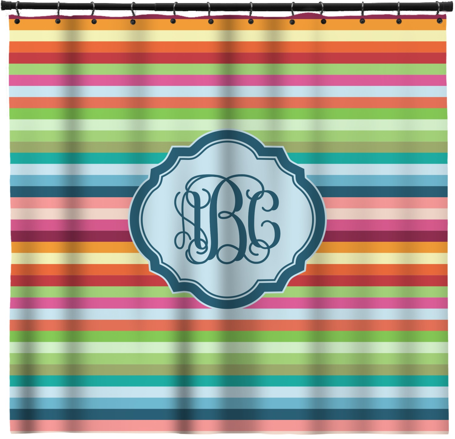 Retro Horizontal Stripes Shower Curtain Personalized
