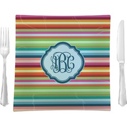 """Retro Horizontal Stripes 9.5"""" Glass Square Lunch / Dinner Plate- Single or Set of 4 (Personalized)"""