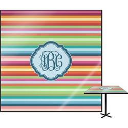 Retro Horizontal Stripes Square Table Top (Personalized)