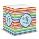 Retro Horizontal Stripes Sticky Note Cube (Personalized)