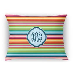 Retro Horizontal Stripes Rectangular Throw Pillow Case (Personalized)