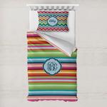 Retro Horizontal Stripes Toddler Bedding w/ Monogram