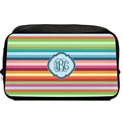 Retro Horizontal Stripes Toiletry Bag / Dopp Kit (Personalized)