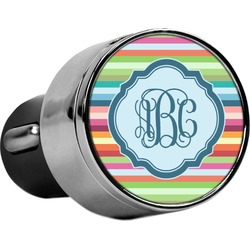 Retro Horizontal Stripes USB Car Charger (Personalized)