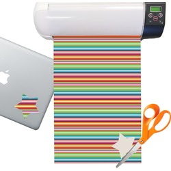 Retro Horizontal Stripes Sticker Vinyl Sheet (Permanent)