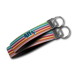Retro Horizontal Stripes Wristlet Webbing Keychain Fob (Personalized)