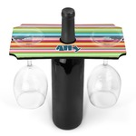 Retro Horizontal Stripes Wine Bottle & Glass Holder (Personalized)