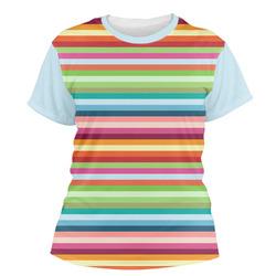 Retro Horizontal Stripes Women's Crew T-Shirt (Personalized)