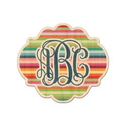 Retro Horizontal Stripes Genuine Maple or Cherry Wood Sticker (Personalized)
