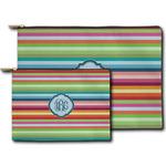 Retro Horizontal Stripes Zipper Pouch (Personalized)